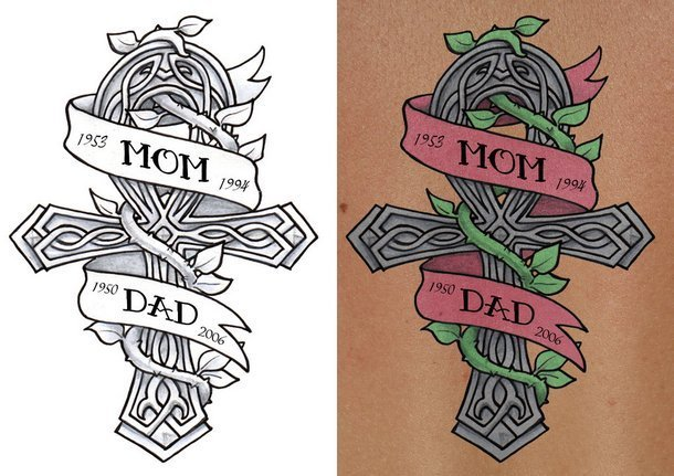 Celtic Cross Mom and Dad Tattoo Design