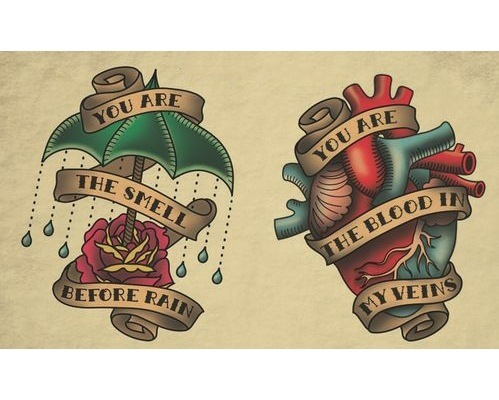 Heart and Rose with Umbrella Tattoo Design