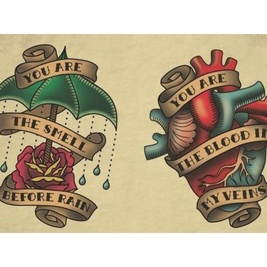 Heart and Rose with Umbrella Tattoo