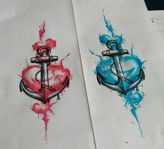 Couple of Anchors and Hearts Tattoo Design