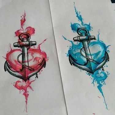 Couple of Anchors and Hearts Tattoo