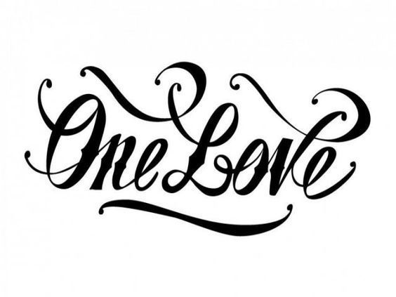 One Love Lettering Tattoo Design