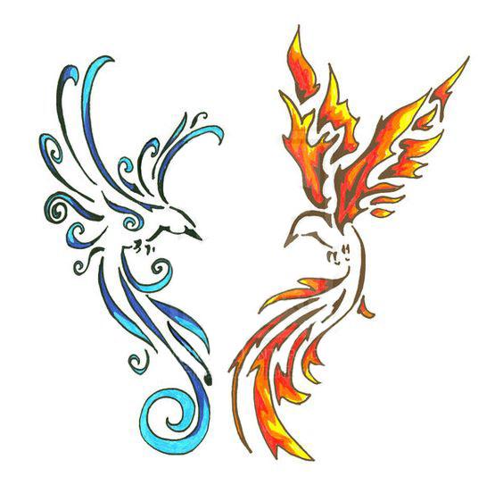 Blue and Orange Birds Tattoo Design