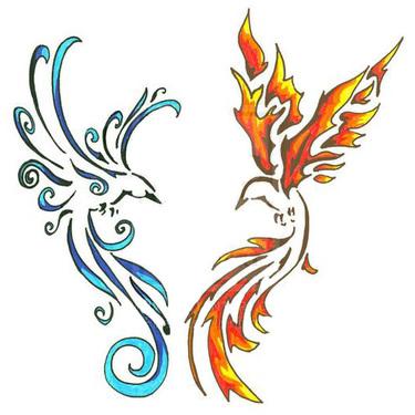 Blue and Orange Birds Tattoo