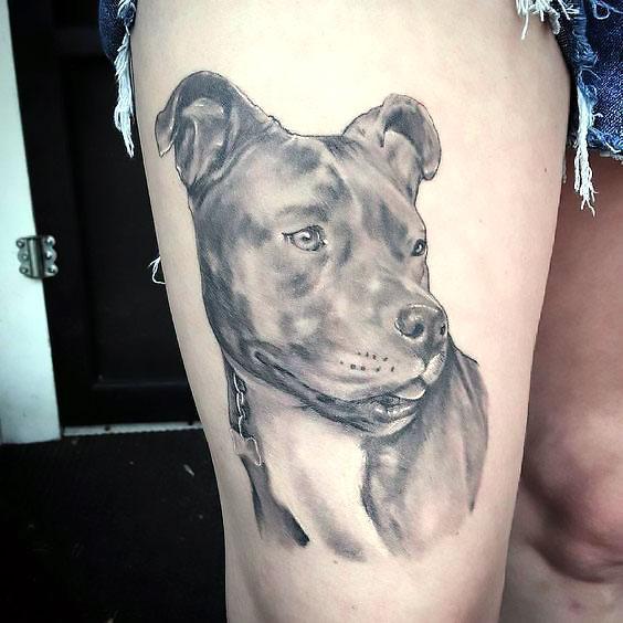 Awesome Pitbull Tattoo Tattoo Idea