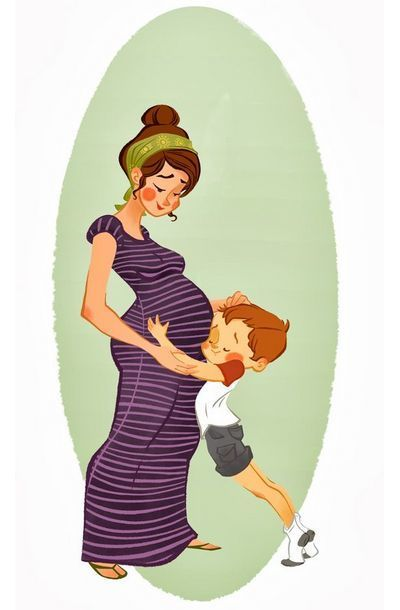 Pregnant Mother and Son Tattoo Design