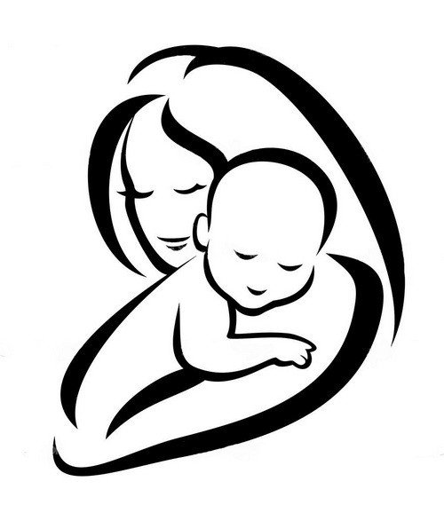 Mother and Baby Silhouette Tattoo Design