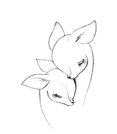 Deers Motherhood Drawing  Tattoo Design