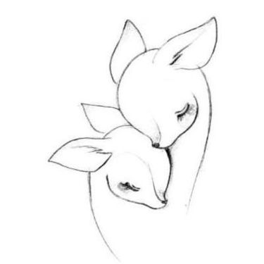 Deers Motherhood Drawing  Tattoo