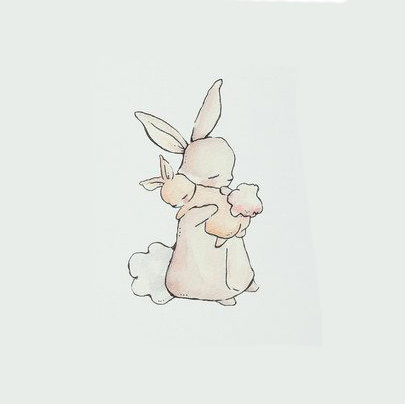 Mother and Child Rabbits Tattoo Design