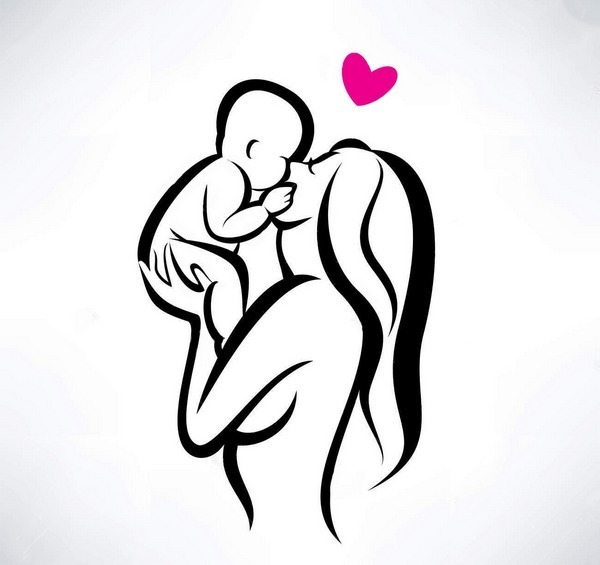 Mother Kissing Her Child Tattoo Design