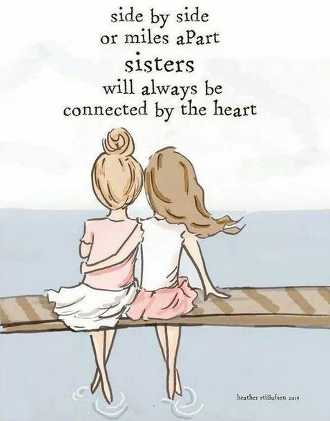 Sisters Connected by Heart Tattoo Design