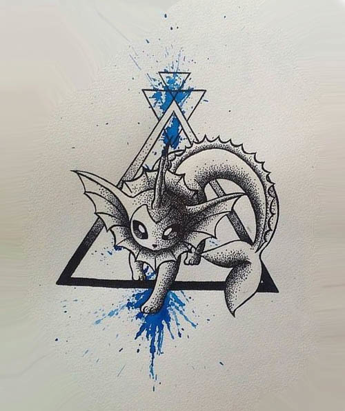 Dotwork Watercolor Vaporeon Tattoo Design