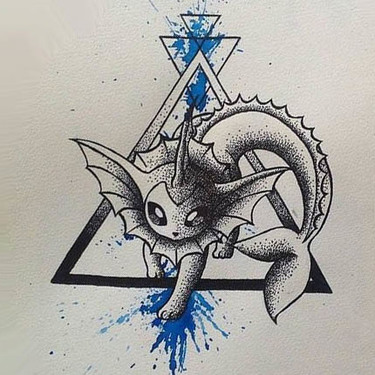Dotwork Watercolor Vaporeon Tattoo