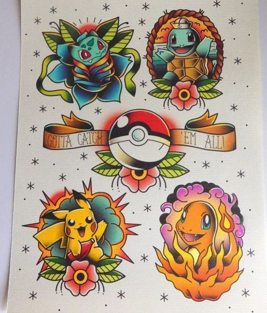 Pokemon Old School Style Tattoo Design