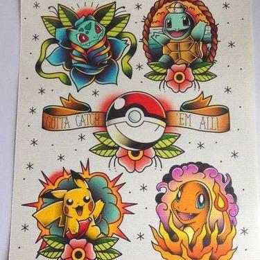 Pokemon Old School Style Tattoo
