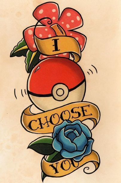 I Choose You Poke Ball Tattoo Design