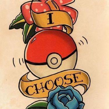 I Choose You Poke Ball Tattoo
