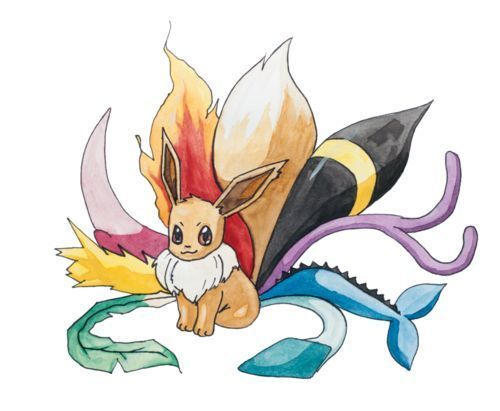 Eevee with Nine Tails Tattoo Design