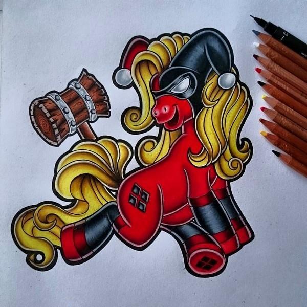 Pony Harley Quinn Tattoo Design
