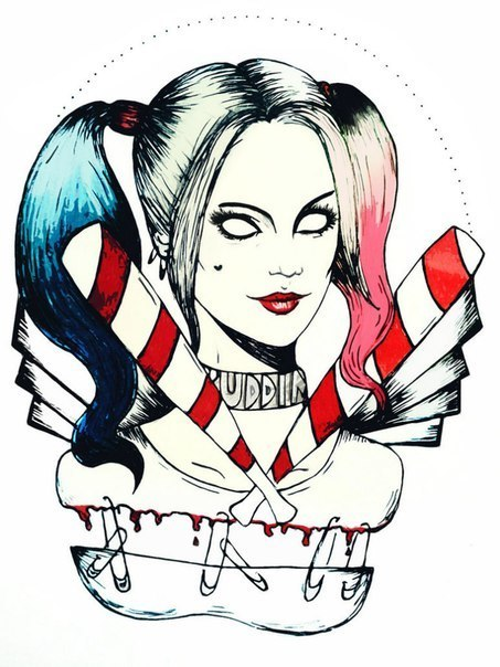 Harley Quinn Portrait Tattoo Design