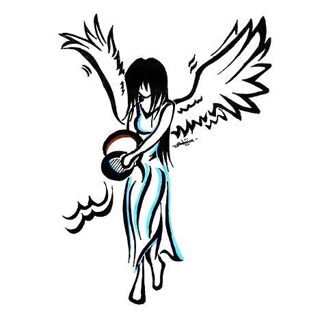 Angel Aquarius Tattoo Design
