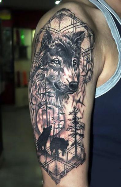 Awesome Wolf Half Sleeve Tattoo Idea