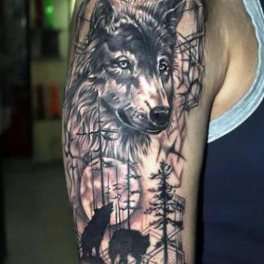 Awesome Wolf Half Sleeve Tattoo