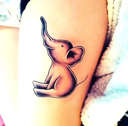 Baby Elephant Cute Tattoo Idea