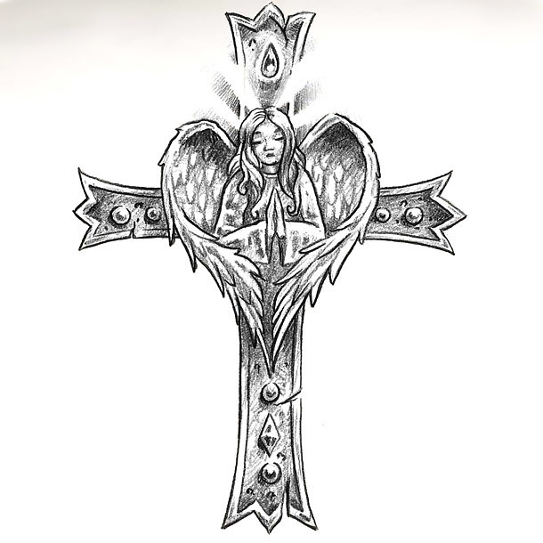 Patriotic Cross Tattoo Design