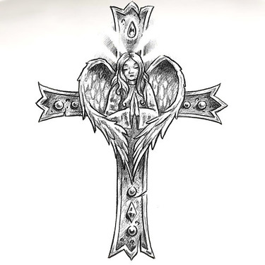 Patriotic Cross Tattoo