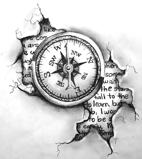 Travelling Compass Tattoo Design