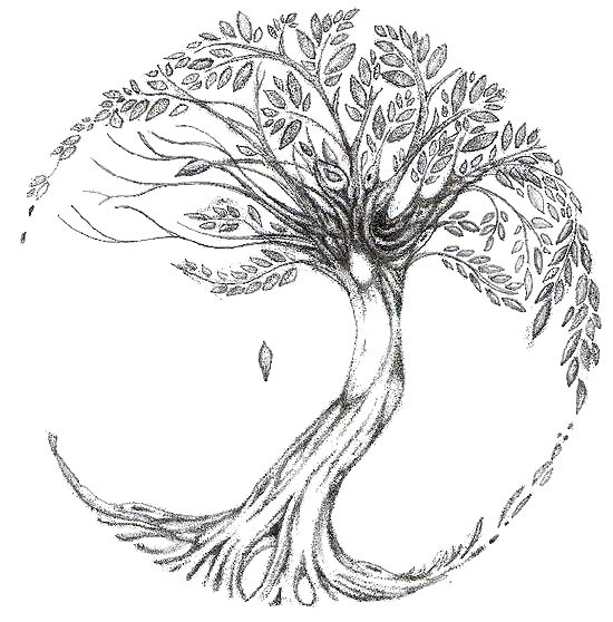 Tree With Falling Leaves Tattoo Design