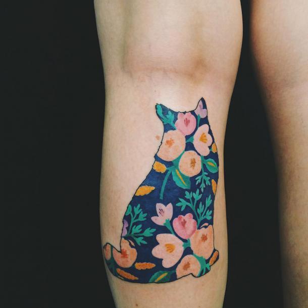 Floral Cat Tattoo Idea