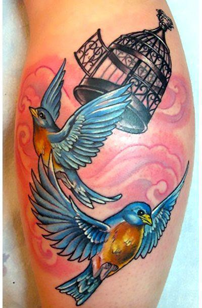 Birdcage and Two Bluebirds Tattoo Idea