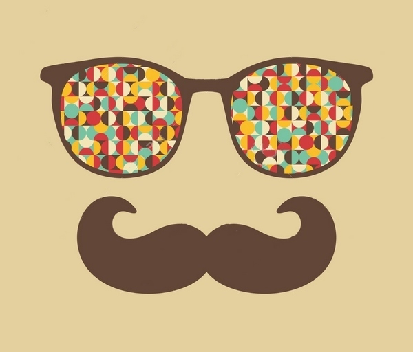 Retro Sunglasses Hipster Mustache Tattoo Design