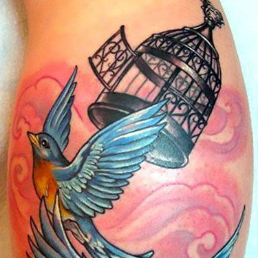Birdcage and Two Bluebirds Tattoo