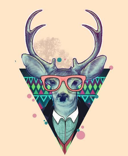 Hipster Deer Triangle Tattoo Design