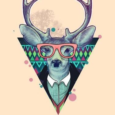 Hipster Deer Triangle Tattoo