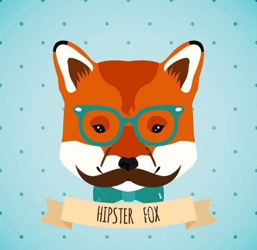 Hipster Fox Glasses Bow Mustaches Tattoo Design
