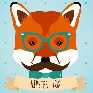 Hipster Fox Glasses Bow Mustaches Tattoo