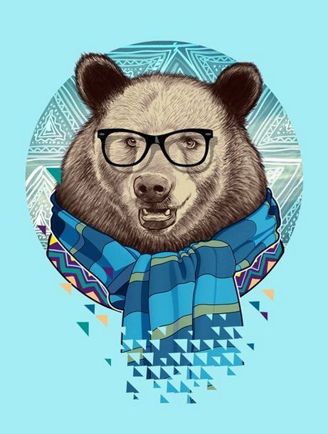 Hipster Bear Tattoo Design