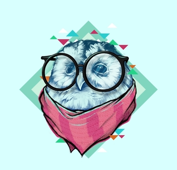 Hipster Owl Tattoo Design