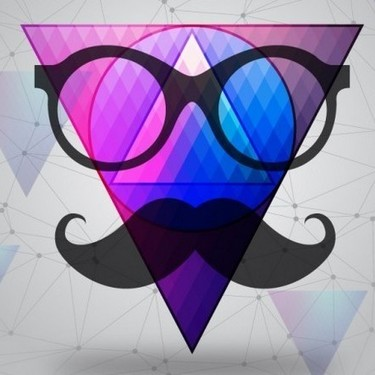 Hipster Triangle with Mustache Tattoo
