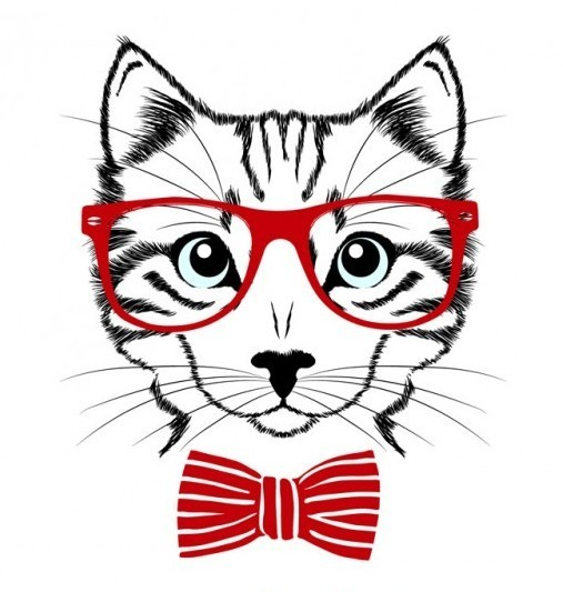 Hipster Cat  Tattoo Design