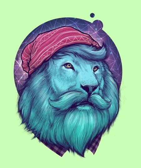Hipster Lion Tattoo Design