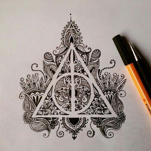 Ornate Deathly Hallows Tattoo Design