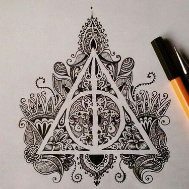Ornate Deathly Hallows Tattoo