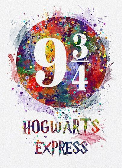 Colorful Hogwarts Express Tattoo Design