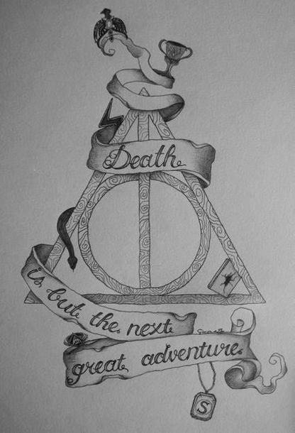 Deathly Hallows with Lettering Tattoo Design